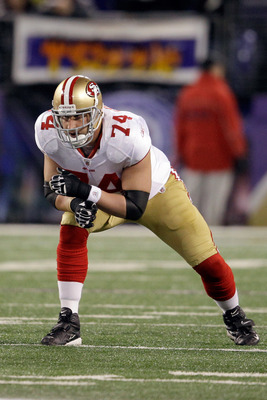 Joe Staley narrowly avoided a major injury last week against the Rams.