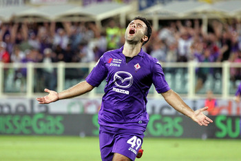 Giuseppe Rossi celebrates his first goal of the season against Catania—his first in nearly two years.