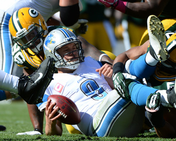 Stafford was sacked five times Sunday.