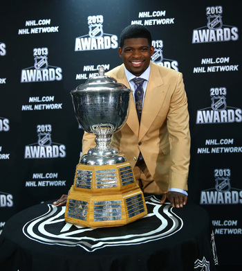 P.K. Subban with his Norris Trophy last season.