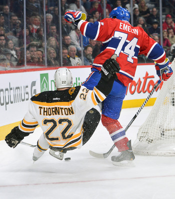 Montreal Canadiens defenseman Alexei Emelin and Boston Bruins forward Shawn Thornton.