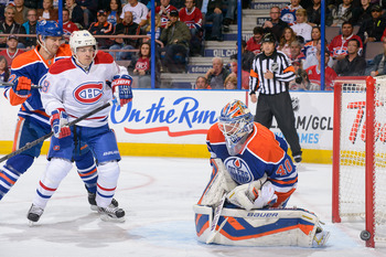 Montreal Canadiens forward Daniel Briere in front of Edmonton Oilers goalie Devan Dubnyk.