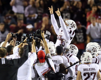 Aggie kicker Josh Lambo celebrates his game-winning field goal against Ole Miss.