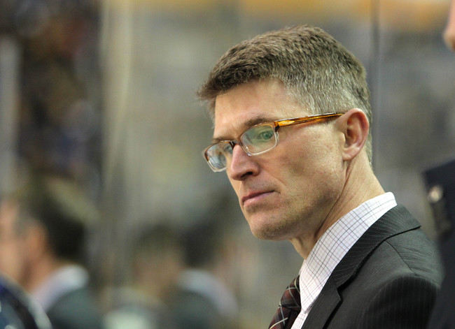 Apr. 7, 2013; Buffalo, NY, USA;  Buffalo Sabres head coach Ron Rolston on the bench during a game against the New Jersey Devils at First Niagara Center.  Mandatory Credit: Timothy T. Ludwig-USA TODAY Sports