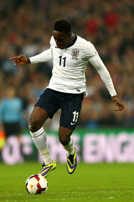 Welbeck with the ball at his feet vs. Poland