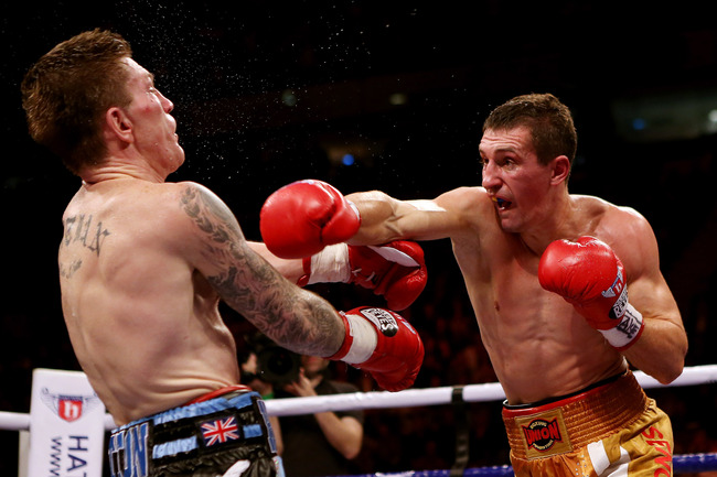 MANCHESTER, ENGLAND - NOVEMBER 24:  Ricky Hatton of Great Britain (L) is caught by Vyacheslav Senchenko of Ukraine during their Welterweight bout at the MEN Arena on November 24, 2012 in Manchester, England.  (Photo by Scott Heavey/Getty Images)