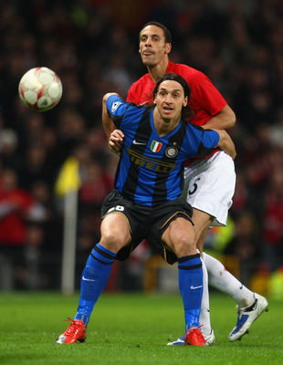 Zlatan Ibrahimovic fends off Rio Ferdinand in a 2009 Champions League clash between Inter and Manchester United.