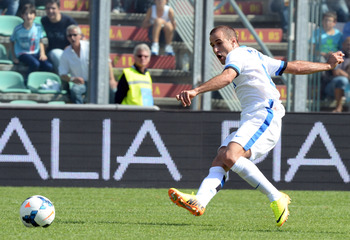 Rodrigo Palacio fires the ball in Inter's 7-0 thrashing of Sassuolo in September.