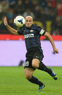 Esteban Cambiasso serves as Inter's stand-in captain against Roma.