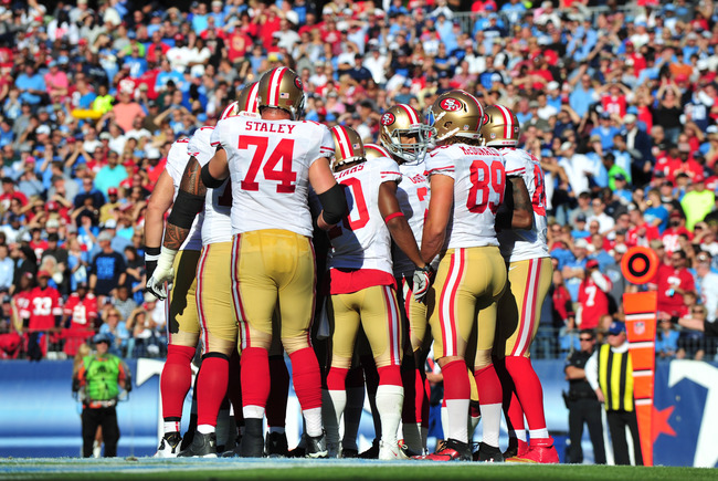 Oct 20, 2013; Nashville, TN, USA; The San Francisco 49ers offensive squad huddles in a game against the Tennessee Titans during the first half at LP Field. Mandatory Credit: Don McPeak-USA TODAY Sports