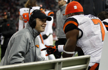 Oregon State head coach Mike Riley with WR Brandin Cooks