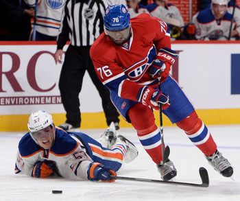 Montreal Canadiens defenseman P.K. Subban and Edmonton Oilers forward David Perron.