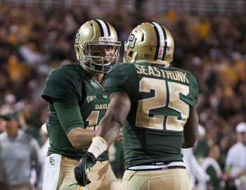 RB Lache Seastrunk and QB Bryce Petty
