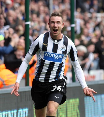 Paul Dummett celebrates scoring against Liverpool last weekend