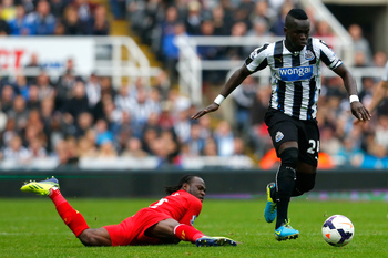 Cheick Tiote (right) will captain Newcastle on Sunday