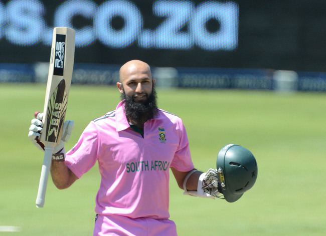 JOHANNESBURG, SOUTH AFRICA - MARCH 17:  Hashim Amla of South Africa celebrates his 100 during the 3rd Momentum ODI match between South Africa and Pakistan at Bidvest Wanderers Stadium on March 17, 2013 in Johannesburg, South Africa. (Photo by Duif du Toit