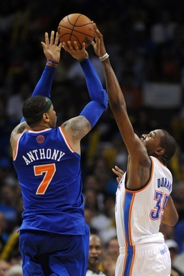 Carmelo Anthony's shot being blocked by Kevin Durant