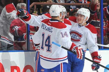 Montreal Canadiens forwards Tomas Plekanec (left), Alex Galchenyuk and Brendan Gallagher.