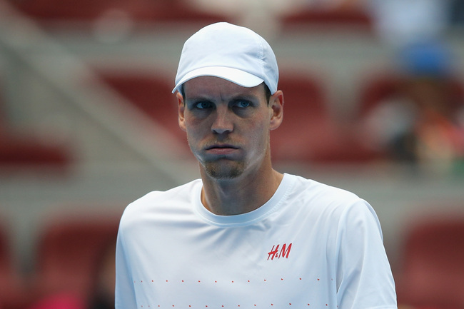 BEIJING, CHINA - OCTOBER 05:  Tomas Berdych of Czech Republic retires because of injury after his men's semi-final match against Rafael Nadal of Spain on day eight of the 2013 China Open at the National Tennis Center on October 5, 2013 in Beijing, China.