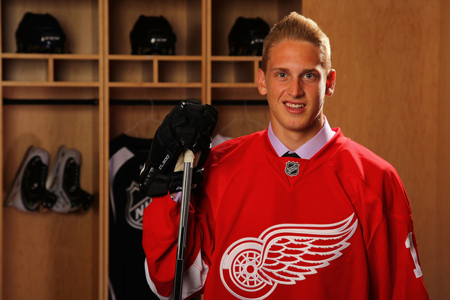 NEWARK, NJ - JUNE 30:  Anthony Mantha, 20th overall pick by the Detroit Red Wings, poses for a portrait during the 2013 NHL Draft at Prudential Center on June 30, 2013 in Newark, New Jersey.  (Photo by Bill Wippert/NHLI via Getty Images)