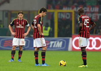 Foto Kaka' e Balotelli (Milan) - Genoa-Milan in diretta tv e diretta streaming calcio oggi 7 aprile 2014.