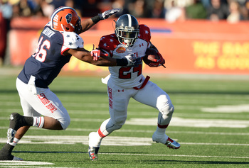 Jonathan Brown (46) and Jerick McKinnon (24) are likely late-round draft selections after solid Senior Bowl weeks.