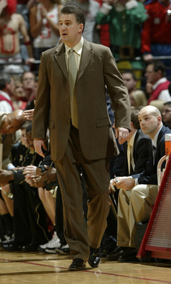 19 February 2008:  Purdue head coach Matt Painter  as the Indiana Hoosiers played the Purdue Boilermakers in a college basketball game in Bloomington, Ind.