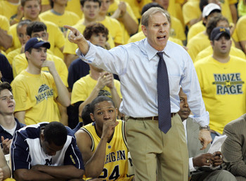 17 February 2008: Michigan head coach John Beilein yells at referees in a college basketball game with Ohio State at Crisler Arena in Ann Arbor, MI. Michigan won 80-70.