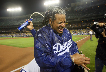 25 September 2008: Dodgers #99 Manny Ramirez celebrates after the Dodgers clinched the National League West Division Title after a game against the San Diego Padres at Dodger Stadium in Los Angeles, CA.