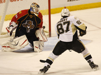 08 JANUARY 2008:  Pittsburgh Penguins Sidney Crosby (87) scores unassisted on Florida Panthers goalie Tomas Vokoun (29) the Bank Atlantic Center in Sunrise, Florida.