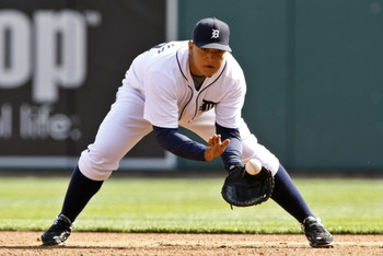 26 APR 2008: Detroit Tigers first baseman Miguel Cabrera (24) fields a ground ball during the Detroit Tigers 6-4 win over the Los Angeles Angels of Anaheim at Comerica Park in Detroit, Michigan.