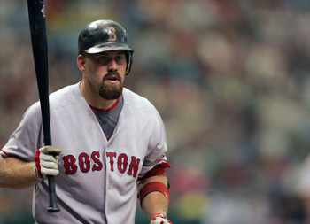 27 APR 2008: Kevin Youkilis of the Red Sox during the game between the Boston Red Sox and the Tampa Bay Rays at Tropicana Field in St. Petersburg, Florida.  The Rays swept the Red Sox in front of 32,363 fans by defeating the Sox today 3 - 0.