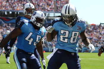 28 September 2008: Tennessee Titans running back Chris Johnson #28 celebrates his touchdown with FB Ahmard Hall #45.  The Tennessee Titans defeated the Minnesota Vikings by a score of 30 to 17 at LP Field in Nashville, Tennessee.