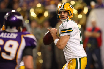 09 November 2008: Green Bay Packers quarterback Aaron Rodgers (12) looks downfield to pass.  The Minnesota Vikings defeated the Green Bay Packers by a score of 28 to 27 at the H.H.H. Metrodome in Minneapolis, Minnesota.