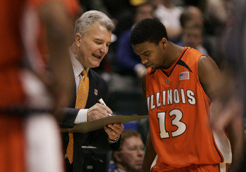 13 MAR 2008: Illinois head coach Bruce Weber speaks with Illinois guard Jeff Jordan (13) during the  Illinois Fighting Illini 64-63 win over the Penn State Nittany Lions at Conseco Fieldhouse in Indianapolis, Indiana.