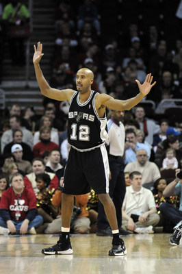 13 February 2008: Bruce Bowen #12 of the Spurs    in an NBA Basketball Game won by the SanAntonio Spurs 112-105,  at Quicken Loans Arena in Cleveland.