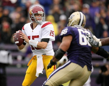SEATTLE - SEPTEMBER 19:  Quarterback Aaron Corp #15 of the USC Trojans looks to pass against the Washington Huskies on September 19, 2009 at Husky Stadium in Seattle, Washington. (Photo by Otto Greule Jr/Getty Images)