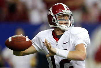 ATLANTA - SEPTEMBER 05:  Quarterback Greg McElroy #12 of the Alabama Crimson Tide against the Virginia Tech Hokies during the Chick-fil-A Kickoff Game at Georgia Dome on September 5, 2009 in Atlanta, Georgia.  (Photo by Kevin C. Cox/Getty Images)