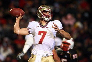 COLLEGE PARK, MD - NOVEMBER 22:  Christian Ponder #7 of the Florida State Seminoles throws a pass against the Maryland Terrapins on November 22, 2008 at Byrd Stadium in College Park, Maryland.  (Photo by Jim McIsaac/Getty Images)