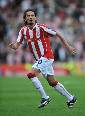 STOKE ON TRENT, ENGLAND - AUGUST 29:  Tuncay of Stoke City in action during the Barclays Premier League match between Stoke City and Sunderland at Britannia Stadium on August 29, 2009 in Stoke on Trent, England.  (Photo by Christopher Lee/Getty Images)