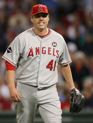 BOSTON - SEPTEMBER 15:  John Lackey #41 of the Los Angeles Angels of Anaheim celebrates getting out of the sixth inning with the bases loaded against the Boston Red Sox on September 15, 2009 at Fenway Park in Boston, Massachusetts. The Red Sox defeated th