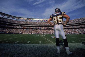 21 Oct 2001:  Tim Dwight #85 of the San Diego Chargers stands on the  sidelines during the game against the Denver Broncos at Qualcomm Stadium in San Diego, California. The Chargers defeated the Broncos 27-10.Mandatory Credit: Donald Miralle  /Allsport