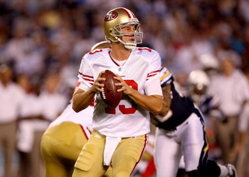 SAN DIEGO - SEPTEMBER 04:  Quarterback Shaun Hill #13 of the San Francisco 49ers throws a pass against the San Diego Chargers on September 4, 2009 at Qualcomm Stadium in San Diego, California.  The Chargers won 26-7. (Photo by Stephen Dunn/Getty Images)