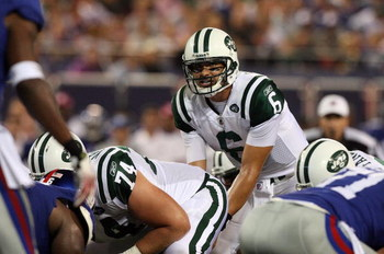 EAST RUTHERFORD, NJ - AUGUST 29:  Mark Sanchez #6 of the New York Jets looks on against the New York Giants on August 29, 2009 at Giants Stadium in East Rutherford, New Jersey.  (Photo by Jim McIsaac/Getty Images)