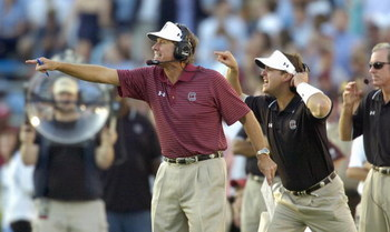CHAPEL HILL, NC - OCTOBER 13: Coach Steve Spurrier of the South Carolina Gamecocks calls instructions against the North Carolina Tar Heels at Kenan Stadium October 13, 2007 in Chapel Hill, North Carolina. South Carolina won 21-15. (Photo by Grant Halverso