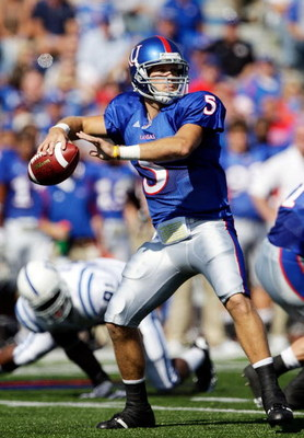 LAWRENCE, KS - SEPTEMBER 19:  Quarterback Todd Reesing #5 of the Kansas Jayhawks passes during the game against the Duke Blue Devils on Kivisto Field at Memorial Stadium on September 19, 2009 in Lawrence, Kansas.  (Photo by Jamie Squire/Getty Images)