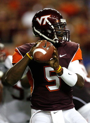 ATLANTA - SEPTEMBER 05:  Quarterback Tyrod Taylor #5 of the Virginia Tech Hokies against the Alabama Crimson Tide during the Chick-fil-A Kickoff Game at Georgia Dome on September 5, 2009 in Atlanta, Georgia.  (Photo by Kevin C. Cox/Getty Images)