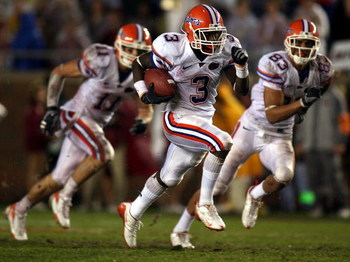 TALLAHASSEE, FL - NOVEMBER 29:  Running back Chris Rainey #3 of the Florida Gators runs the ball against the Florida State Seminoles at Bobby Bowden Field at Doak Campbell Stadium on November 29, 2008 in Tallahassee, Florida.  Florida defeated Florida Sta