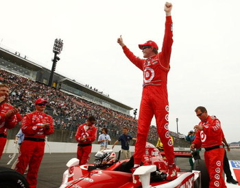 MOTEGI, JAPAN - SEPTEMBER 19:  Scott Dixon, driver of the #9 Target Chip Ganassi Racing Dallara Honda celebrates victory during the IndyCar Series Bridgestone Indy Japan 300 Mile on September 19, 2009 at Twin Ring Motegi in Motegi, Japan.  (Photo by Chris