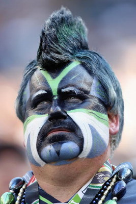 SEATTLE , WA - SEPTEMBER 13: A fan of the Seattle Seahawks looks on during the game against the St. Louis Rams at Qwest Field on September 13, 2009 in Seattle, Washington. (Photo by Otto Greule Jr/Getty Images)
